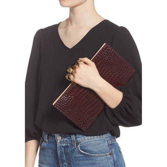 Alexander McQueen Handbags - ALEXANDER MCQUEEN Croc Embossed Leather Knuckle Cl